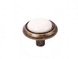 Gałka Gipa mosiądz postarzany/porcelana biała + wkręty