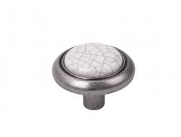 Gałka Gipa nikiel patyna/popękana porcelana + wkręty