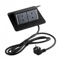LEGRAND Pop-up v2, 2 x gniazdko elektryczne 230 V czarny matowy