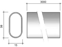 STRONG Drążek meblowy owalny 30/15/3000 mm, chrom